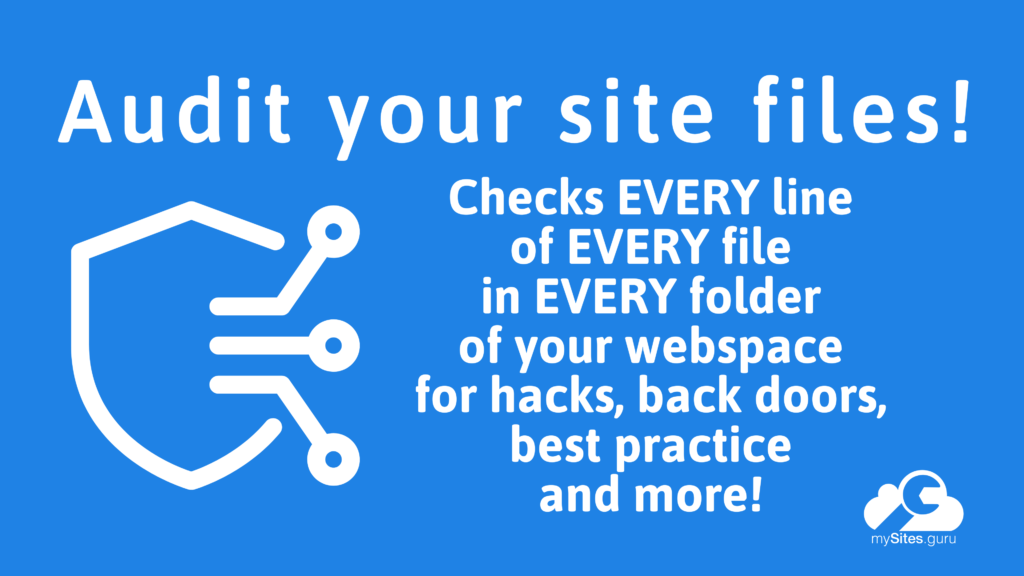 The mySites.guru Audit Tools for WordPress and Joomla Security & Best Practice - find hacks!